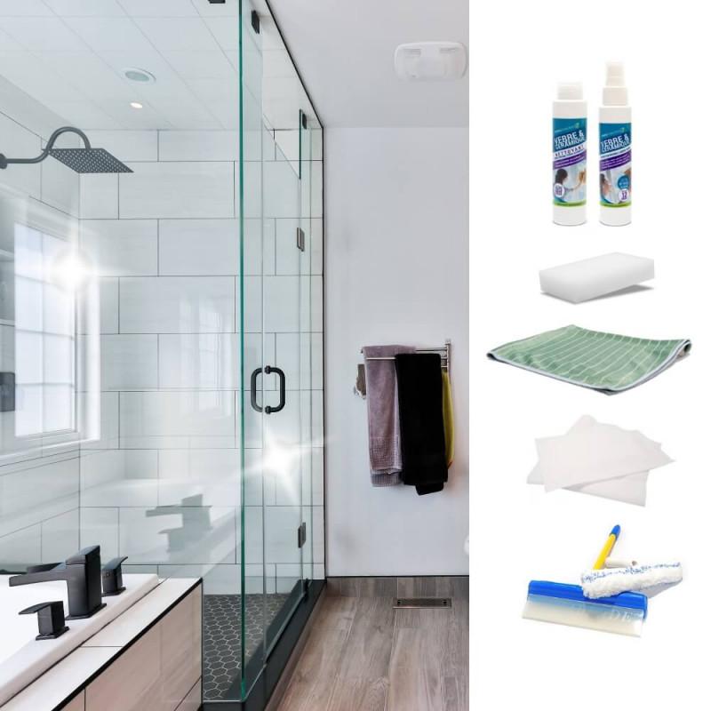 Kit anti-traces pour parois de douches en verre