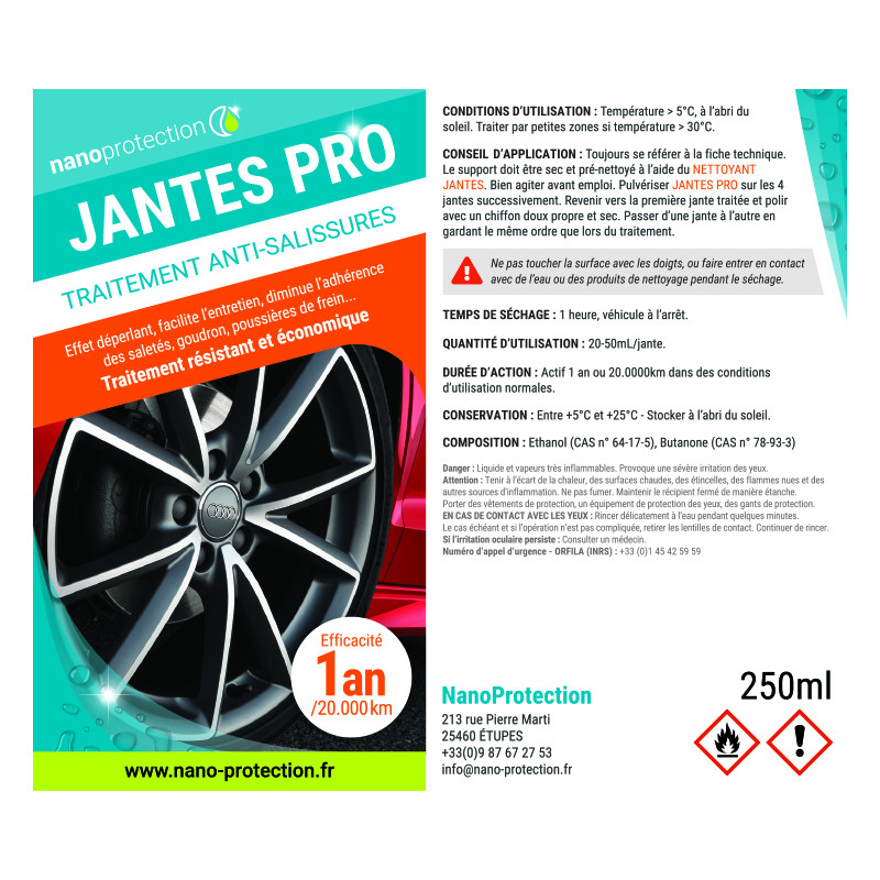 Jantes pro protection antisalissures hybride céramique